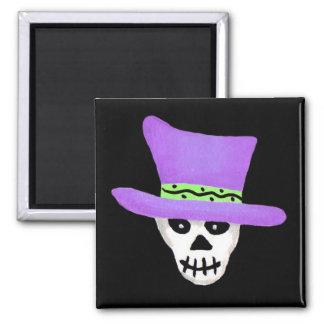 Halloween Whimsy Skeleton Skull Purple Hat 2 Inch Square Magnet