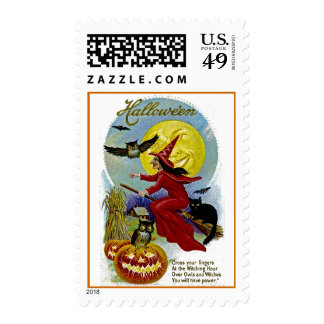 Hallowe'en Whitch and Moon Postage Stamp