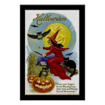 Hallowe'en Whitch and Moon Posters
