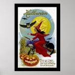 Hallowe'en Whitch y luna Poster
