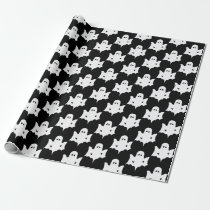 Halloween White Ghost Silhouette Pattern - Black Wrapping Paper
