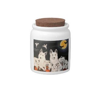 Halloween White Sheperd Dog Family Candy Jar