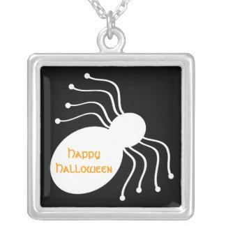 Halloween White Spider on Black Necklace