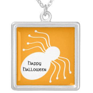 Halloween White Spider on Orange Necklace