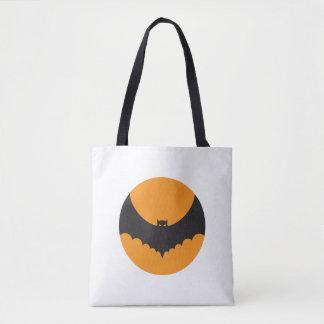 Halloween White tote bag with demon bat in orange