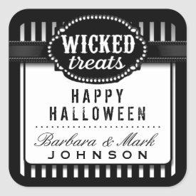 Halloween Wicked Treats Black & White Striped Square Sticker