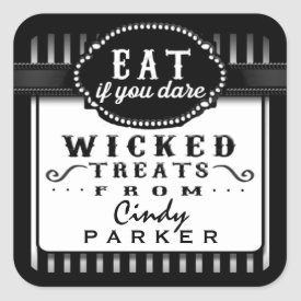 Halloween Wicked Treats From Black & White Striped Square Sticker