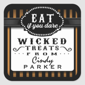Halloween Wicked Treats From Orange & Black Stripe Square Sticker