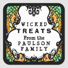 Halloween Wicked Treats Green Orange & Black Label Square Sticker