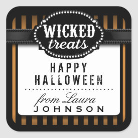 Halloween Wicked Treats Orange & Black Striped Square Sticker