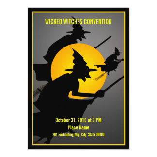 Halloween Wicked Witches Convention Funny Party 5x7 Paper Invitation Card