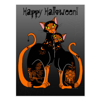 Halloween Willow Patterned Cats Postcard