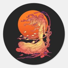 Halloween Wind Classic Round Sticker at Zazzle