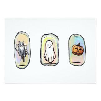 Halloween winged cat, ghost, pumpkin paintings art card