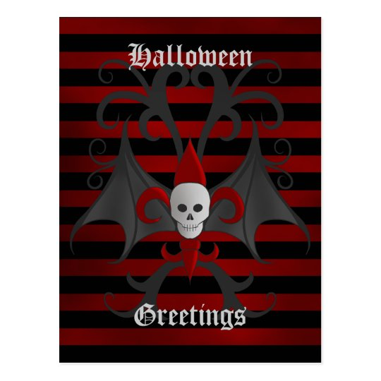 Halloween winged skull postcard