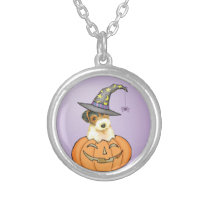 Halloween Wire Fox Terrier Silver Plated Necklace