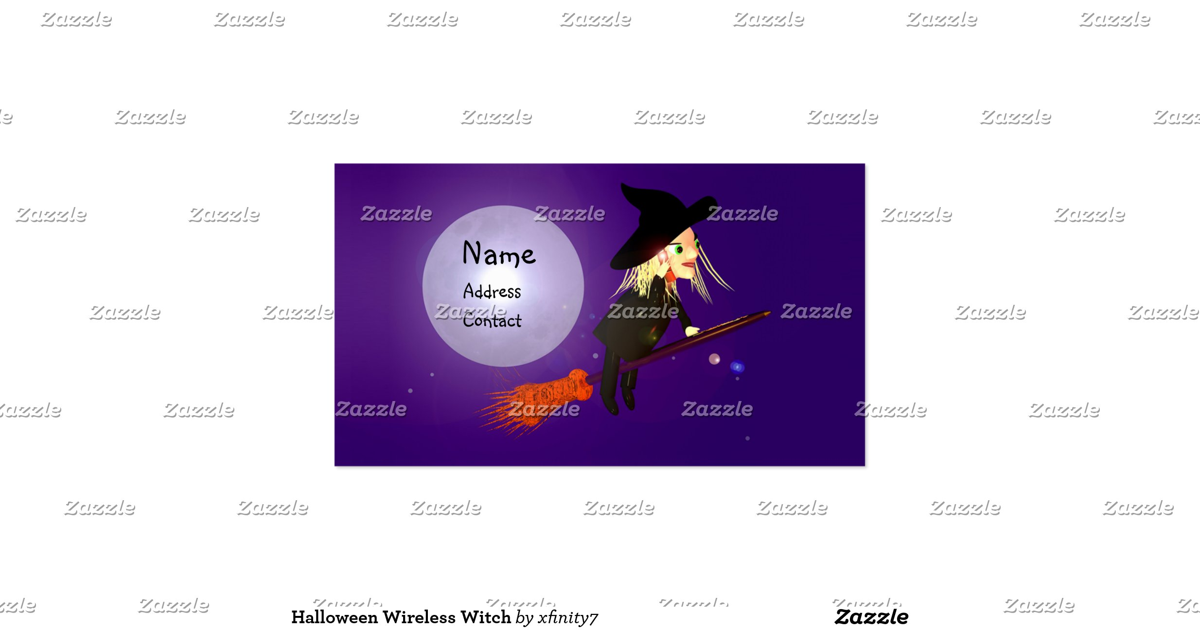 halloween wireless witch business size double sided