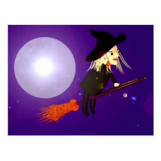 Halloween Wireless Witch Postcard