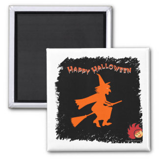 Halloween_Witch 1 2 Inch Square Magnet