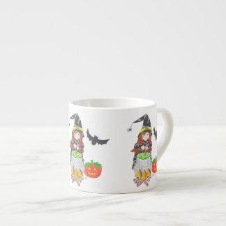 Halloween witch 1 white espresso mug 6 oz ceramic espresso cup