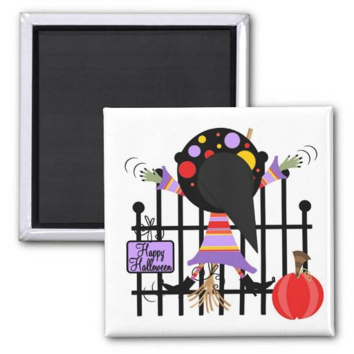 Halloween Witch 2 Inch Square Magnet