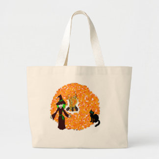 Halloween witch and black cat by fire canvas bags