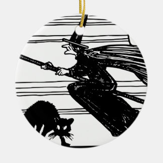 Halloween Witch and Black Cat Ceramic Ornament