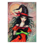 Halloween Witch and Black Cat Fantasy Art Greeting Cards