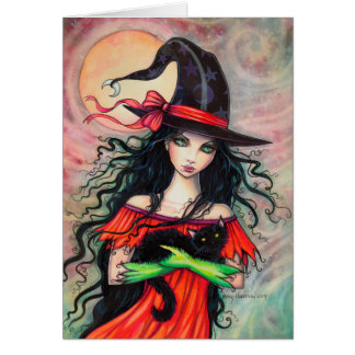 Halloween Witch and Black Cat Fantasy Art Card