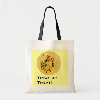 Halloween Witch and Black Cat Moon Tote Bag