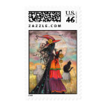 Halloween Witch and Black Cat Postage Stamps