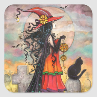 Halloween Witch and Black Cat Stickers