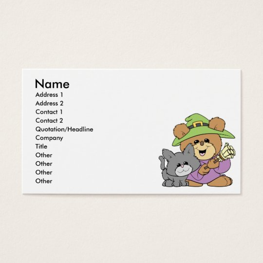 halloween witch and black cat teddy bear design business card