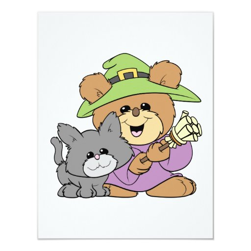 halloween witch and black cat teddy bear design invite
