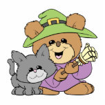 halloween witch and black cat teddy bear design acrylic cut outs