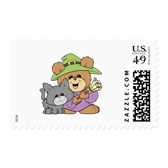 halloween witch and black cat teddy bear design postage