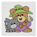 halloween witch and black cat teddy bear design posters