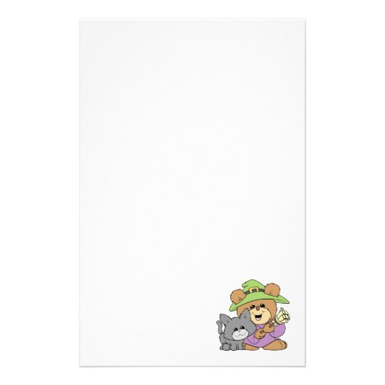 halloween witch and black cat teddy bear design stationery