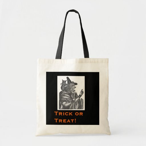 Halloween Witch and Black Cat Tote Bag