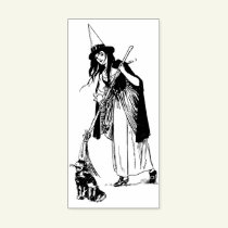 Halloween Witch and Black cat vintage art Rubber Stamp