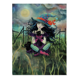 Halloween Witch and Black Cats Fantasy Art Post Card
