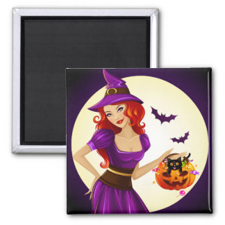 Halloween Witch and Cat 2 Inch Square Magnet