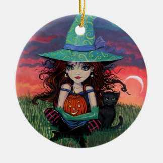 Halloween Witch and Cat Ornament