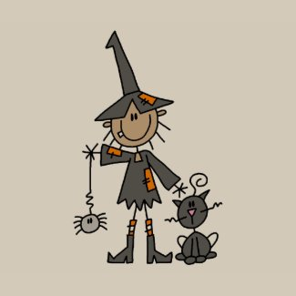Halloween Craft Ideas Construction Paper on Halloween Witch And Cat Stick Figures T Shirt By Stickpeople