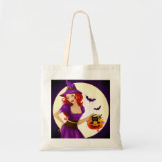 Halloween Witch And Cat Tote Bag at Zazzle