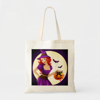 Halloween Witch and Cat Tote Bag