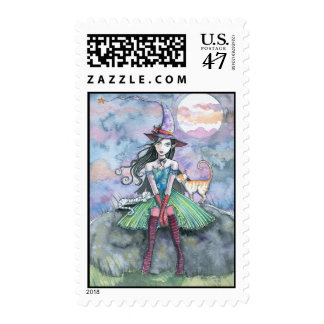Halloween Witch and Cats Art Postage Stamps
