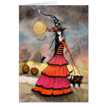 Halloween Themed Halloween Witch and Cats Graveyard Card