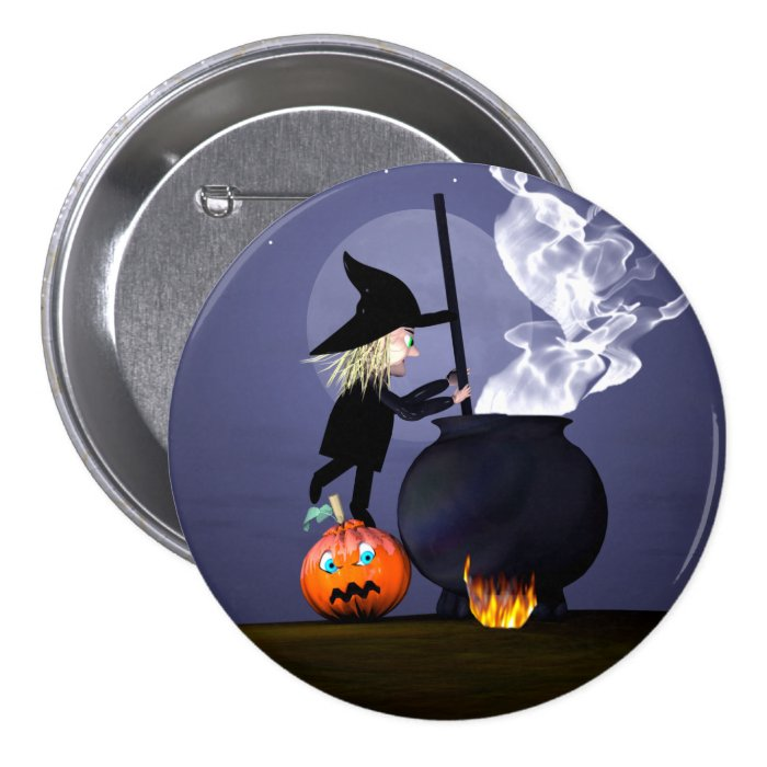 Halloween Witch and Cauldron Button