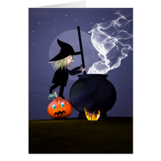 Halloween Witch and Cauldron Card